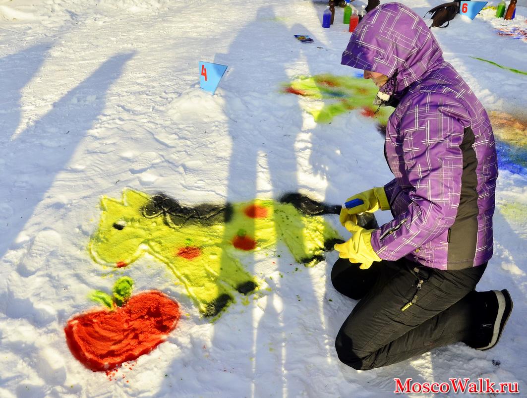 рисунки на снегу фото